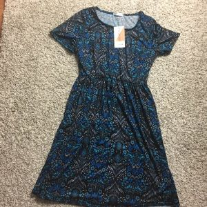 Honey & Lace medium Windsor dress blue black flora